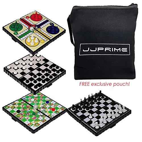 JJPRIME - 4 Juegos de Mesa de Viajes clásicos, Divertidos y Divertidos - Damas y escaleras Ajedrez Ludo Mini Juego de Dados magnéticos Juego de Cajas Plegables