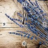 Artland Analoge Wand-Funk-oder Quarz-Uhr Digital-Druck Leinwand auf Holz-Rahmen gespannt mit Motiv Anna Subbotina Lavendel vor Holzhintergrund Botanik Blumen Fotografie Braun C4TW