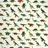 Baumwollstoff Stoff Dekostoff Digitaldruck Dinosaurier weiß bunt