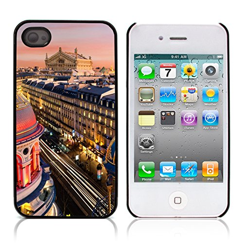 Graphic4You Paris At Night Skyline View Postkarte Ansichtskarte Design Harte Hülle Case Tasche Schutzhülle für Apple iPhone 4 und 4S Design #13