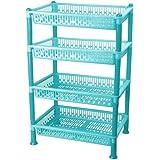 FORTUNSHOP Plastic 4 Layer Multi-Purpose Kitchen Storage Basket Rack (Blue)