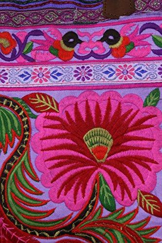 HMONG CON BORSETTA CON CINGHIE IN PELLE Multicolore (viola)