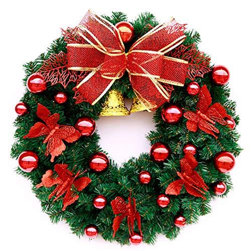 Zygeo - DIY Frohe Weihnacht-Kranz 30CM / 40CM Garland-Fenster-Türschmuck Bowknot Ornament Künstliche Garland [40cm Rot] -
