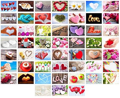Set 52 Postkarten zur Hochzeit - Hochzeitsspiel: eine Postkarte jede Woche - Hochzeitsgeschenk - Liebe + Herzen - Postcrossing – Dekoidee – Geschenk - Gästebuch - Geburtstag - Danke