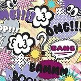 Cómic Text Speak tela OMG. Teenage tela–0,5m Multiples–Púrpura Rosa Naranja y amarillo crema niñas tela–Metro–100% Cotto