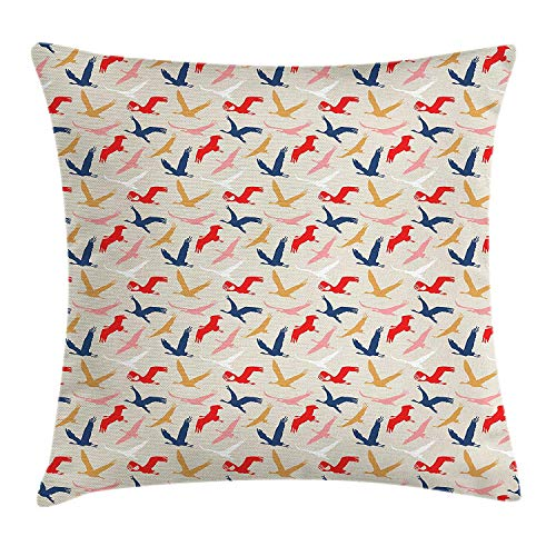 VYPHN Birds Throw Pillow Cushion Cover, Migrating Pelicans Silhouette Dovetail in The Sky Contemporary Style Nature Concept, Decorative Square Accent Pillow Case, 18 X 18 inches, Multicolor