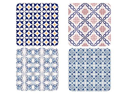 rsetzer LISBOA Muster Kacheln Glasuntersetzer aus Holz Deko ()