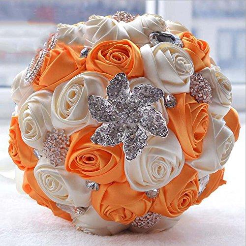 Stile europeo fatto a mano ciascuno di raso rosa e bouquet per nozze forniture di nozze sposa damigella d'onore che tiene fiori ( color : orange+milky white )