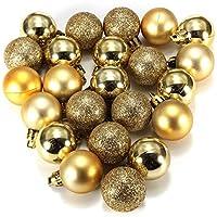 Bola de adorno - TOOGOO(R) 24 piezas XMAS bolas brillas elegantes de adorno de decoracion de arbol chucherias de Navidad de color oro