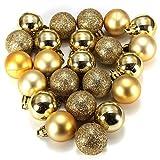 TOOGOO(R) 24 pezzi Chic Natale di Baubles Albero Scuro Glitter XMAS Ornamento Palla Decorazione - Oro