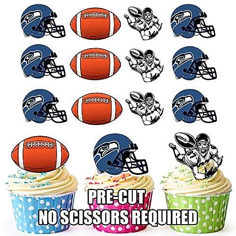 American Football NFL Cupcake Topper/Kuchen Dekorationen (12Stück) Seattle