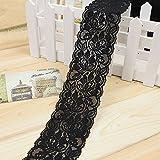 1m elastische Spitze Trim Blumen Stretch Band handgefertigt nähen Strap Craft Decor DIY Wrap Kunsthandwerk, Schwarz, Free Size