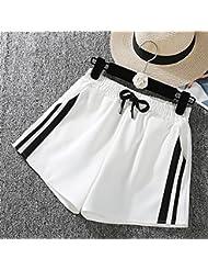 WHTLL-Vêtements de sport Shorts Womens Wide Leg Spring White Edge Taille mince Pantalon à larges jambes