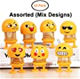 JIADA Cute Emoji Bobble Head Smiley Spring Doll Ornaments Bounce Toys Emoticon Figure - Pack of 6