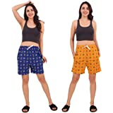 Kiba Retail Printed Cotton Casual/Night Wear Trendy Shorts for Girl's/Women's Combo (Pack-2)