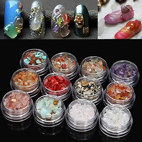 Bluelover 12 Farben 3D Nagel Kunst Natürliche Kristall Edelsteine ??Jade Kies Dekoration (Kontaktlinsen Jade)