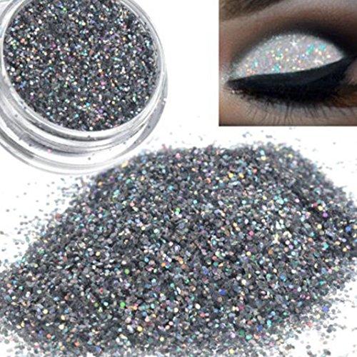 Changierender Glitter, loses Lidschatten-Pulver von Mingfa, Damen, silbern-holografisches Pigment, Profi-Make-up für die Augen -