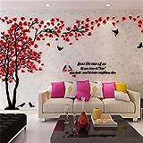 Haihuic 3D Wandtattoo Bäume & Vögel DIY Wandaufkleber Fernseheinstellungs-Wand-Sofa-Hintergrund für Wohnkultur Wohnzimmer Kinderzimmer 1m x 2m / 39 x 79 Zoll (Rot)