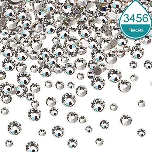 3456 Stücke Nagel Kristalle AB Nagel Kunst Strass Runde Perlen Flache Rückseite Glas Charms Edelsteine, 6 Größen für Nägel Dekoration Makeup Kleidung Schuhe (Gemischt SS4 5 6 8 10 12, Kristall Klar)