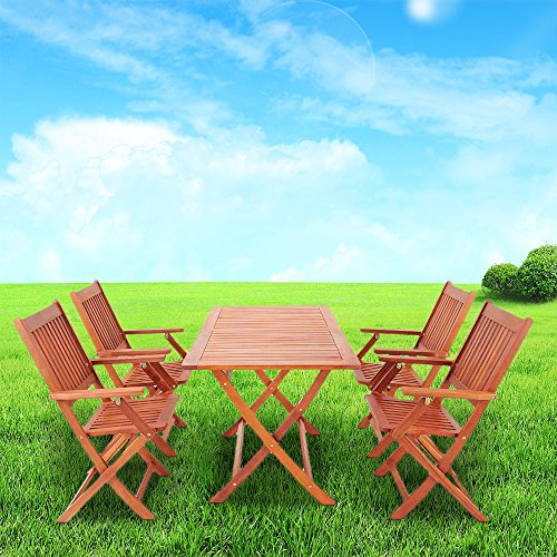 Britoniture 4 Seater Wooden Garden Furniture Set Folding Picnic Table and Chairs for Outdoor Garden Patio Indoor, Solid Acacia Wood