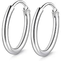 T400 Jewelers Orecchini Cerchio Argento Sterling 925 per Donna Creoli Sleeper rotondo lucido finito, diametro: 25-65mm