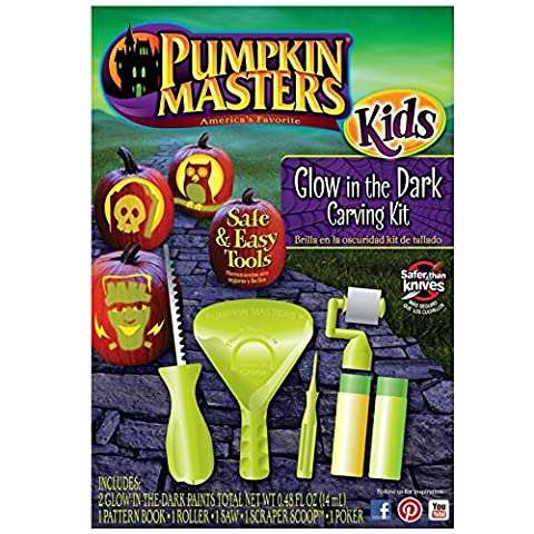 Pumpkin Master Safe & Easy Tools Carving Kit citrouille + Pochoirs Manche Glow in the Dark Grün