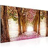 Bilder Wald Landschaft Wandbild 100 x 40 cm Vlies - Leinwand Bild XXL Format Wandbilder Wohnzimmer Wohnung Deko Kunstdrucke Pink 1 Teilig - Made IN Germany - Fertig zum Aufhängen 605612a