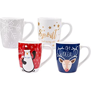 Invero® Set of 4 Large 12oz (340ml) Stoneware Christmas Design Printed Mugs Ideal for Tea, Coffee, Latte, Hot Chocolate, Gifts and More