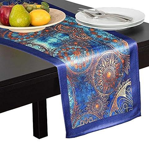 Lushomes numérique polyester imprimé table bleue runner napperon 72 x