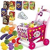 Carrito de compras Juego de roles Juguete con frutas vegetal accesorios Música y luz para niños,rosa