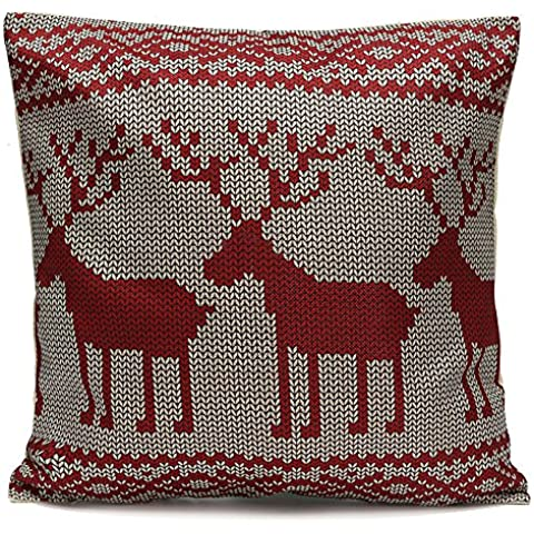 Manta de algodón lino Vintage funda de almohada Funda de cojín coche de Navidad decoración para el