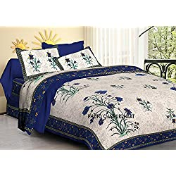 Jaipuri haat Traditional Mughal Print Cotton Double Bedsheet with 2 Pillow Covers - King , MultiColor
