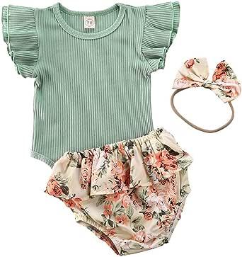 Neugeborenes Baby M/ädchen Bekleidungssets Floral R/üschen Strampler Stirnband Outfits Set Baumwolle Bodysuit Wei/ß Strampler Overall