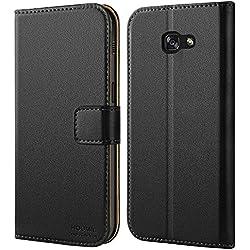 HOOMIL Coque Samsung A5 2017, Housse en Cuir Premium Flip Case Portefeuille Etui Coque pour Samsung Galaxy A5 2017 (H3034, Noir)