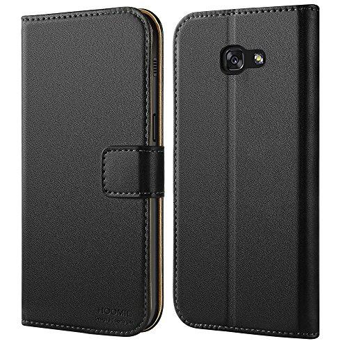 Galaxy A5 2017 Hülle, HOOMIL Handyhülle Samsung Galaxy A5 (2017) Tasche Leder Flip Case Brieftasche Etui Schutzhülle für Samsung A5 2017 Cover - Schwarz (H3034) (Smartphone Leder Etui)