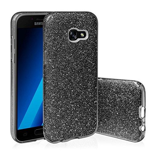 EGO ® Hülle Glitzer Schutzhülle für Samsung Galaxy A5 2017 A520, Gold Back Case Bumper Glänzend Transparente TPU Bling Weiche Glamour Handy Cover Lipgloss Schwarz