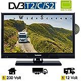 Telefunken T20X740 MOBIL LED TV Fernseher 20 Zoll 51 cm DVB/S/S2/T/T2/C, DVD, USB, 12V 230V, Energieeffizienzklasse A+ nur 14Watt, Wide Screen TV, Fernseher