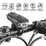 LESHP Smart Fahrradlicht Fahradbeleuchtung Set USB Wiederaufladbare LED Fahrradlampen Frontlicht Super Hell Fahrradlichter Wasserdicht für Sicheres Radfahren Taschenlampe