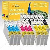 15 x Tintenpatronen XXL mit Chip kompatibel mit EPSON SX510W / SX515W / SX600FW / SX610FW DISA