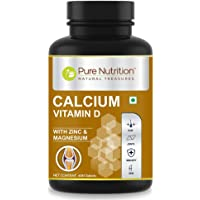 Pure Nutrition Calcium for Men and Women with Vitamin D, Magnesium & Zinc, Supports Strong Bones and Immune Health, 60…