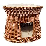 2-81-5 Ovale Katzenhöhle aus Weide von GalaDis. Mit zwei Kissen. Ein Katzenkorb für Ihre Katze zum Ruhen und Spielen. (Wendekissen)) - 5