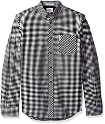 Ben Sherman Mens Long Sleeve Core Gingham, Jet Black, Small