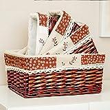 bagehua das Aufbewahrungskorb, Korb Aufbewahrungsschuppen Garten Rattan Finish Willow starkes Unterwäsche Snacks Küche Kosmetik Aufbewahrungsbox Desktop-N ° 4Korb Kaffee Stickerei rot