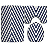 OQUYCZ Navy Blue Pattern with Geometric Triangle Like Striped Designed Bathroom Rug 3 Piece Bath Mat Set Contour Rug and Lid Cover