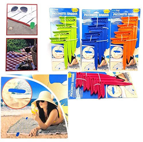 takestop® Set 4Stück Heringe Beschwerer Handtuch Handtücher Badetuch Halter Erdspieß Strand Spitze Terra Sand Erdbohrer Farbe zufällig (Handtuch Spitze)