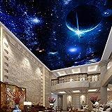 Chlwx 400cmX280cm (157.5inX110.249in) Moderne Tapete 3D Wandbilder Für Wohnzimmer Deckengemälde Sterne Planeten Universum Weltraum Wallpaper Foto Tapete 3D