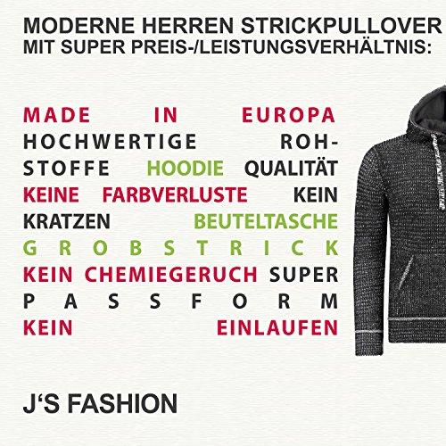 Herren Strick-Pullover mit Kapuze / Slim-Fit figurbetont super Passform / Strick-Hoodie Schalkragen Grobstrick / Ideal für kalte Jahreszeit Herbst Winter Schwarz