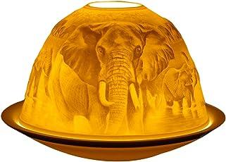Himmlische Düfte Geschenkartikel DL0062 Elefanten Windlicht Porzellan 12 x 12 x 8 cm, weiß