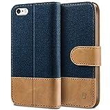 BEZ® Hülle für iPhone SE Hülle, Handyhülle Kompatibel für iPhone SE 5 5S Hülle, Handytasche Schutzhülle Tasche [Stoff und PU Leder] mit Kreditkartenhaltern - Blau Marine