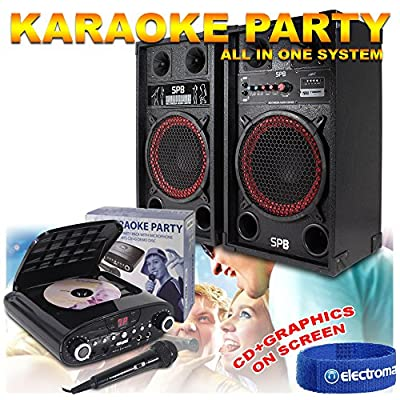 """2x 10"""" Active Disco Speakers Karaoke Machine Party System + FREE Microphone 600W"""
